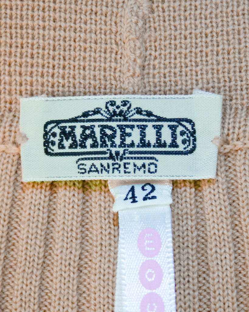 Camel Colour Ribbed Knit Cardigan