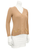Tan Zip Front Ribbed Cardigan With Gold Chain Details