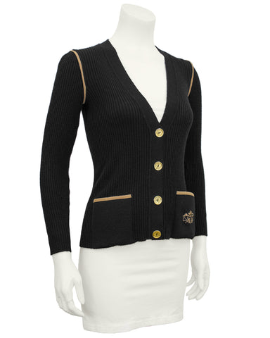Black Wool Ribbed Cardigan With Tan Accents