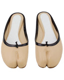 Beige Leather Slides with Black Patent Leather Trim