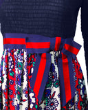Navy Blue and Red Maxi Dress