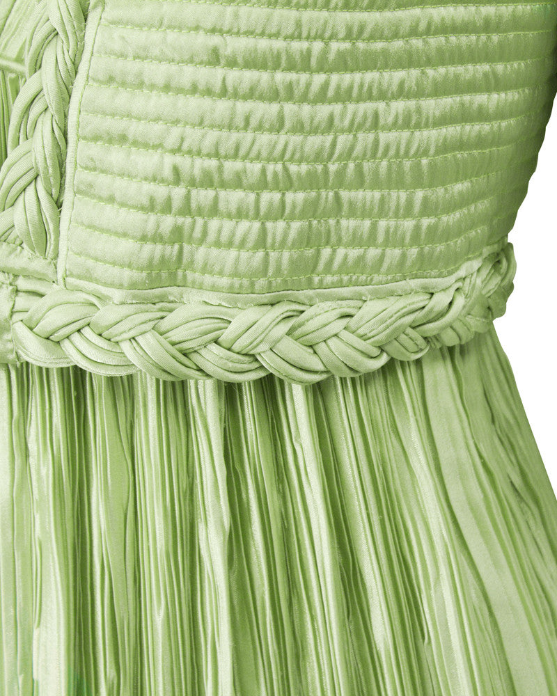 Green Micro Pleated Dress and Bolero