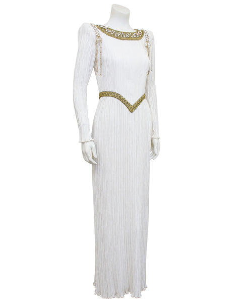White Jewel Trimmed Micro Pleated Gown