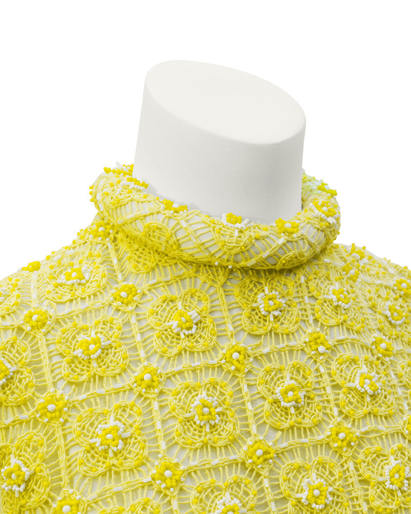 Yellow crochet & beaded evening gown and jacket