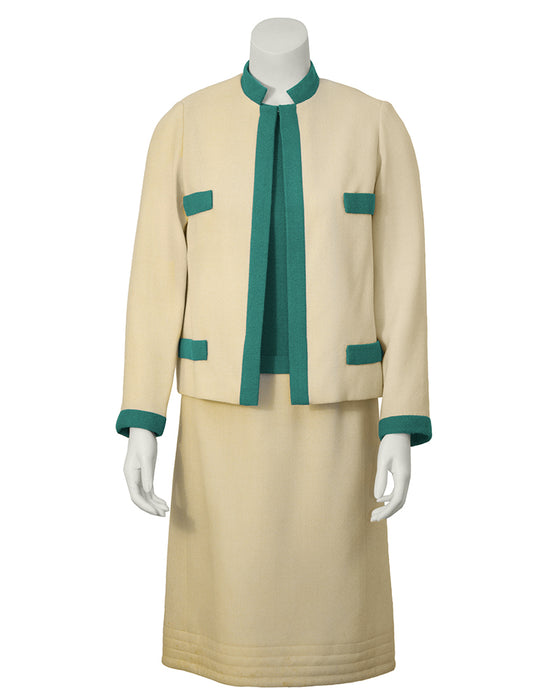 Cream and Green Dress and Jacket