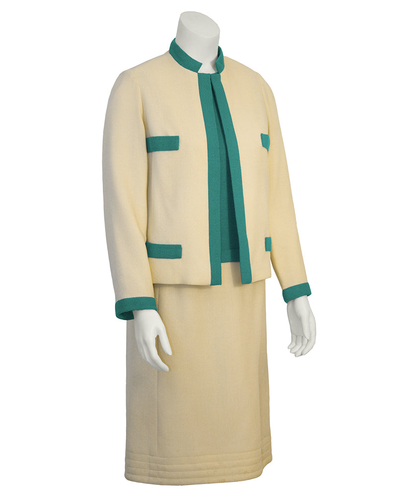 Cream and Green Dress and Jacket suit