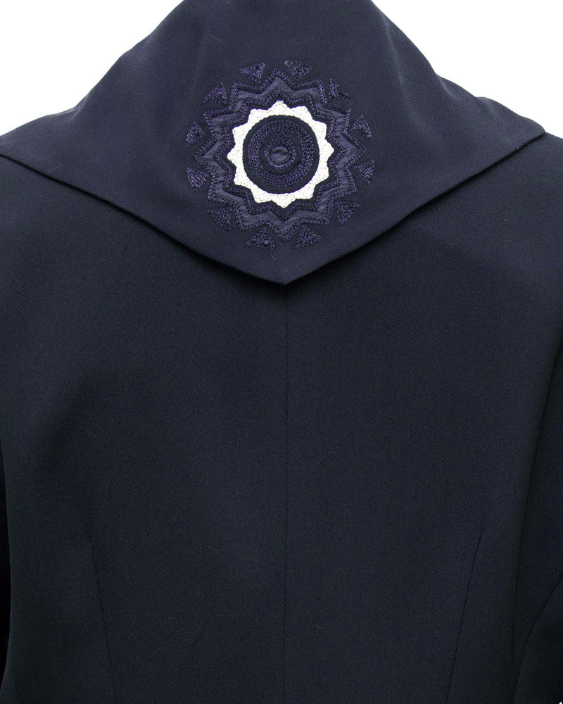 Black Jacket with Embroidered Collar