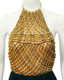 Gold & Green Crochet Halter Top Gown