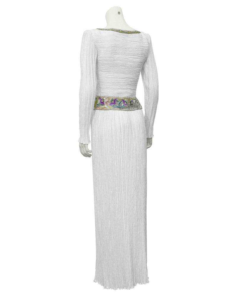 White pleated gown with beading