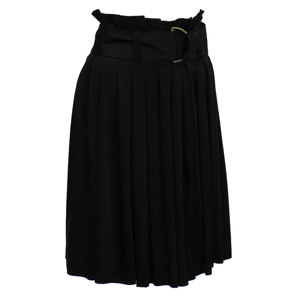 Black Satin Pleated Skirt with Belt