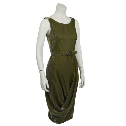 Green Velvet Cocktail Dress