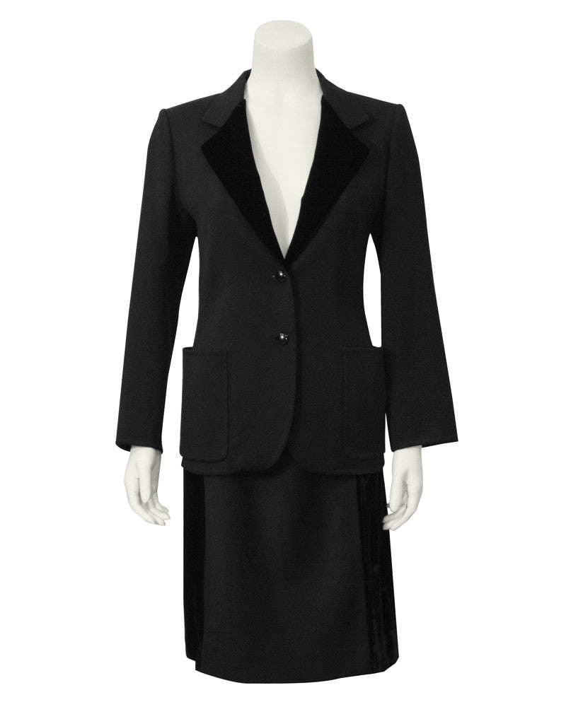 Black Wool and Velvet Skirt Suit
