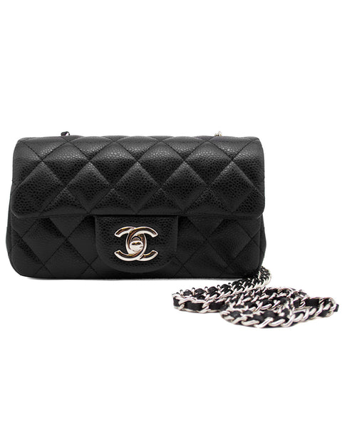 b9dc27ccfefd36 2013 Black Quilted Caviar Leather Chanel Classic Mini Flap Bag
