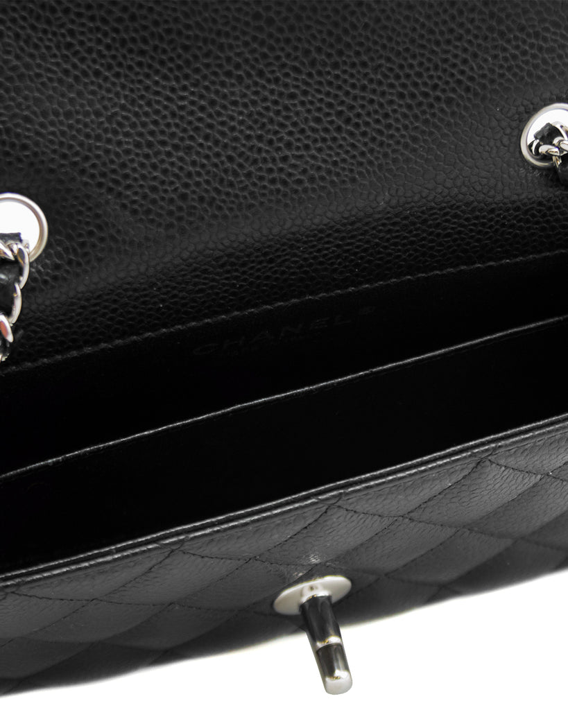 efc7a777a0950b ... 2013 Black Quilted Caviar Leather Chanel Classic Mini Flap Bag ...