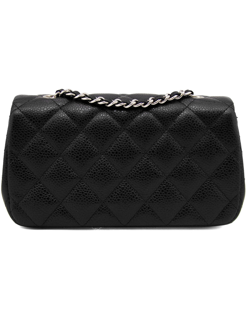 2013 Black Quilted Caviar Leather Chanel Classic Mini Flap Bag