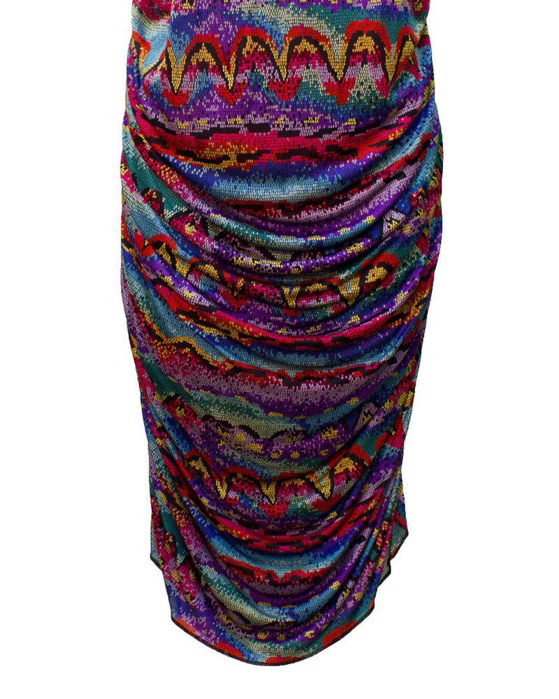 Multi-colored printed ruched dress
