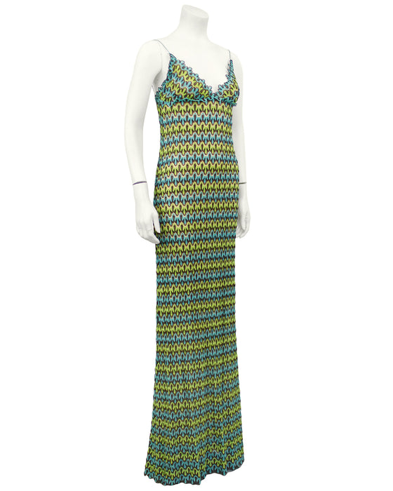 Green and Blue Crochet Maxi Dress