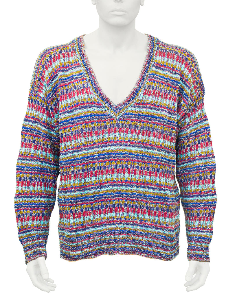 Multi-color Knit V neck sweater