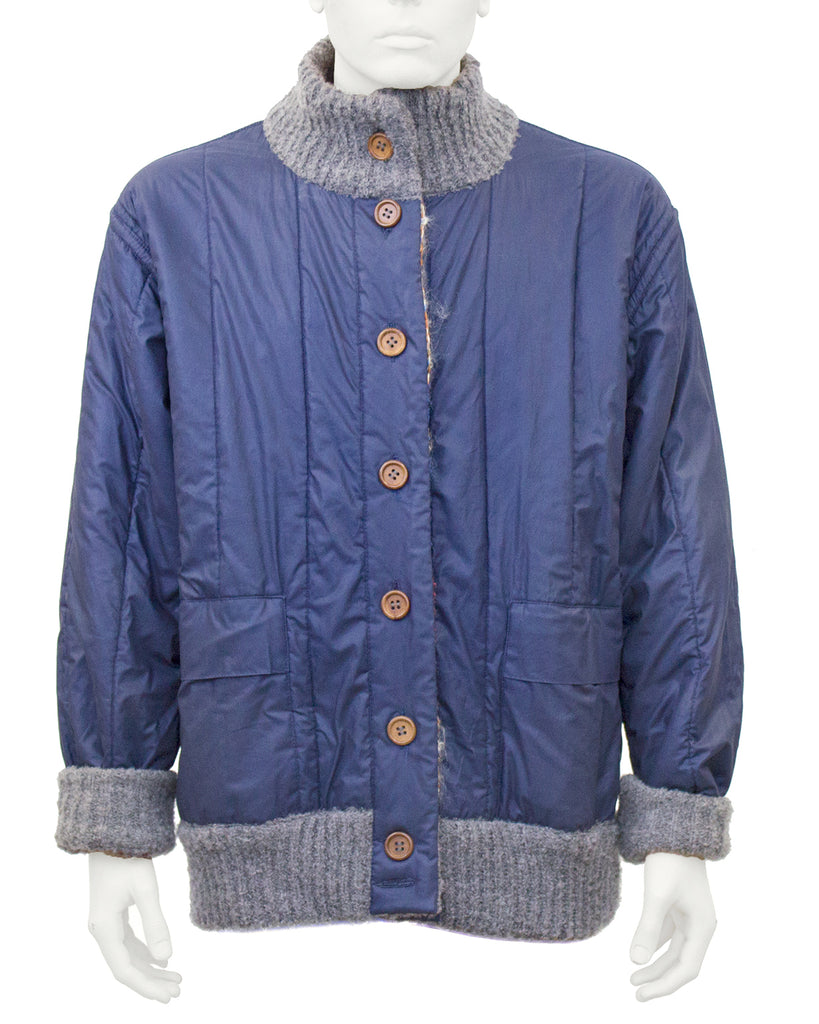 Blue Reversible Missoni Knit Bomber Jacket