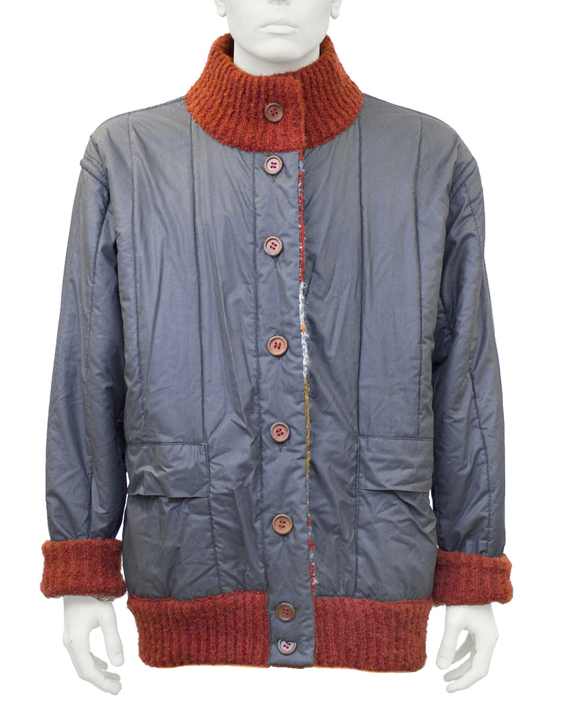 Red and Blue Reversible Missoni Knit Bomber Jacket