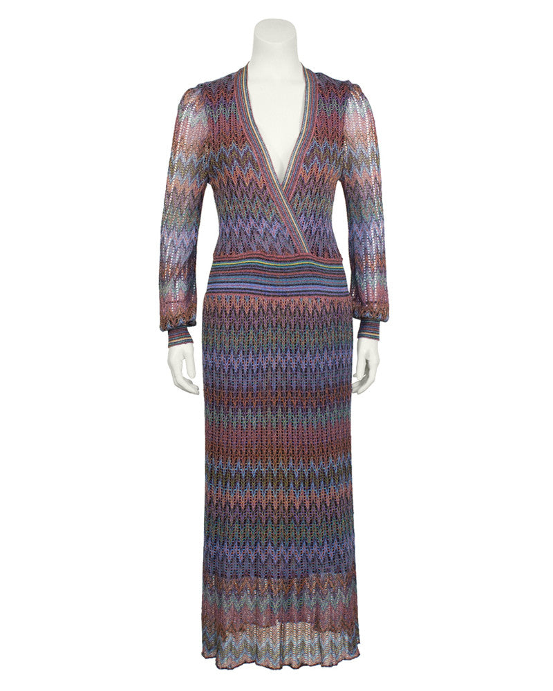 Multi Color Open Knit Maxi Dress