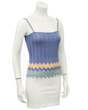 Blue Knit Tank with Chevron Detailing