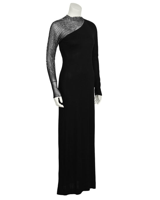 Black Gown with Illusion Beaded Sleeve