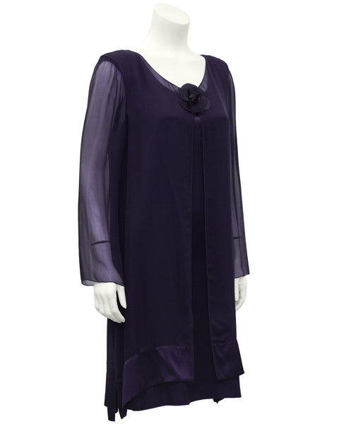 Purple Chiffon and Silk Dinner Dress