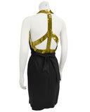 Black Dress with Gold Sequin Peace Sign Back