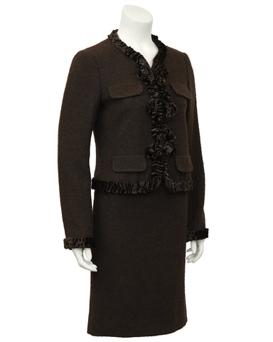 Brown Wool and Velvet Skirt Suit
