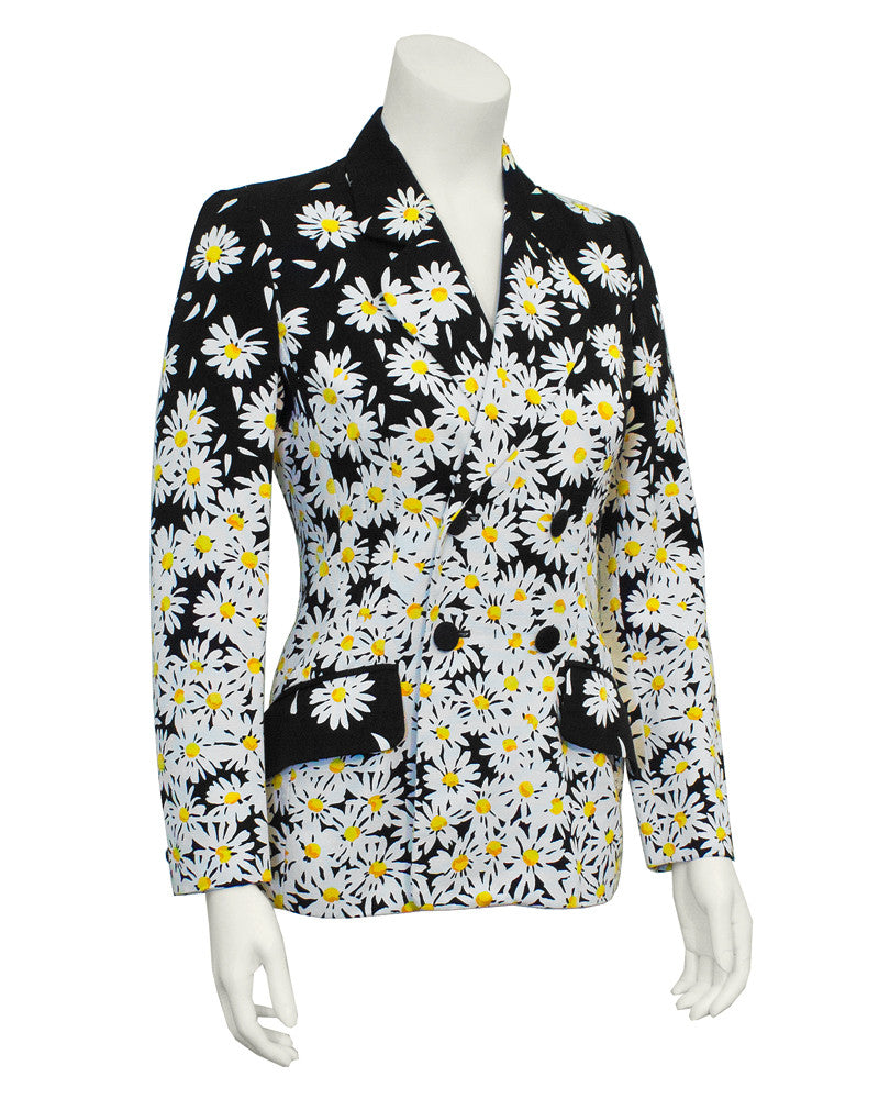 Navy Blazer with White Daisy Print