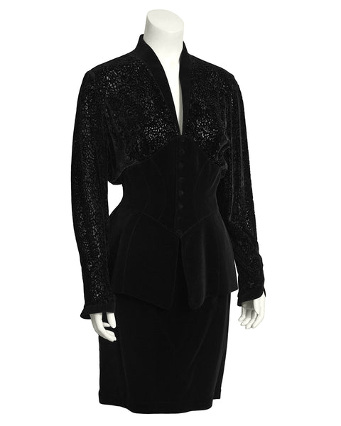Black Velvet Skirt Suit