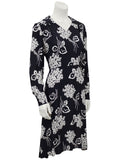 Black and Cream Floral Rayon Dress