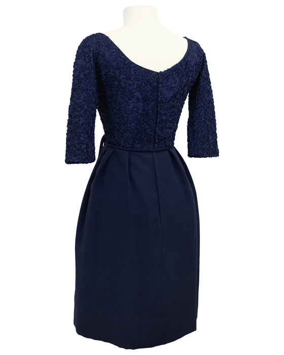 Navy Blue Cocktail Dress with Ribbon Embroidery