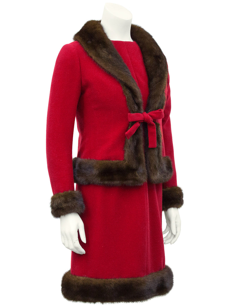Red Wool Haute Couture Ensemble with Mink Trim