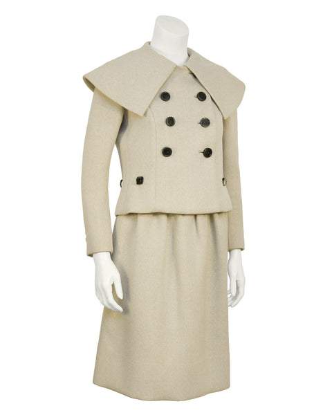 Beige Wool Skirt Suit
