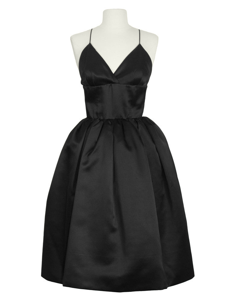 Black Satin Pouf Cocktail Dress