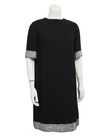 Black Wool Beaded Cocktail Dress