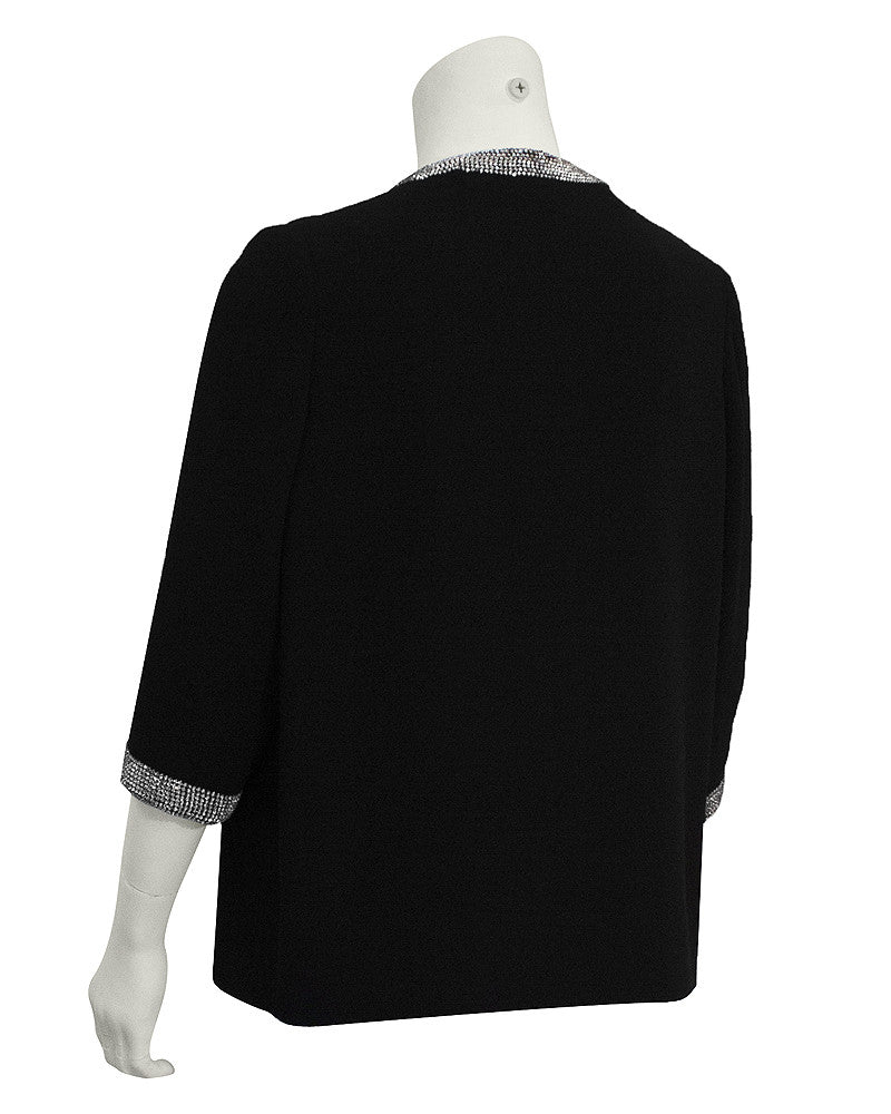 Black Wool Jacket with Rhinestone Trim