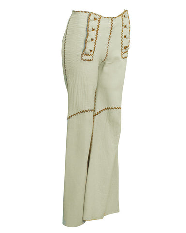 Cream Flared Pants with Decorative Stitching
