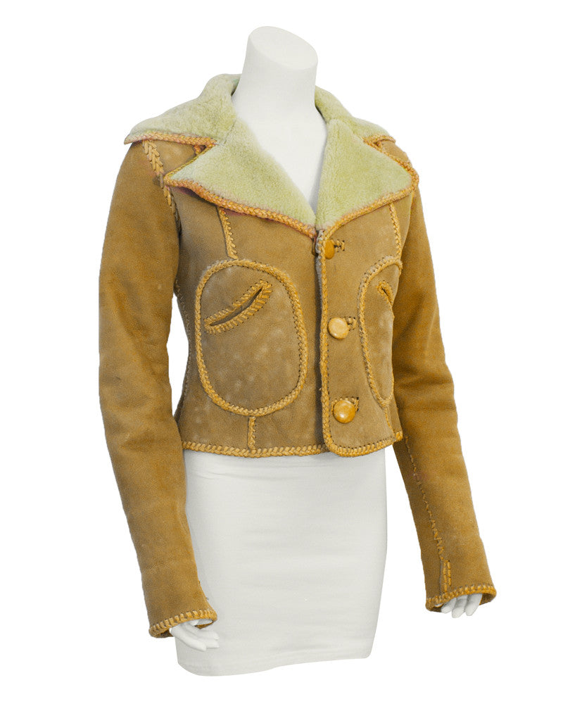 Tan Sheepskin Cropped Coat