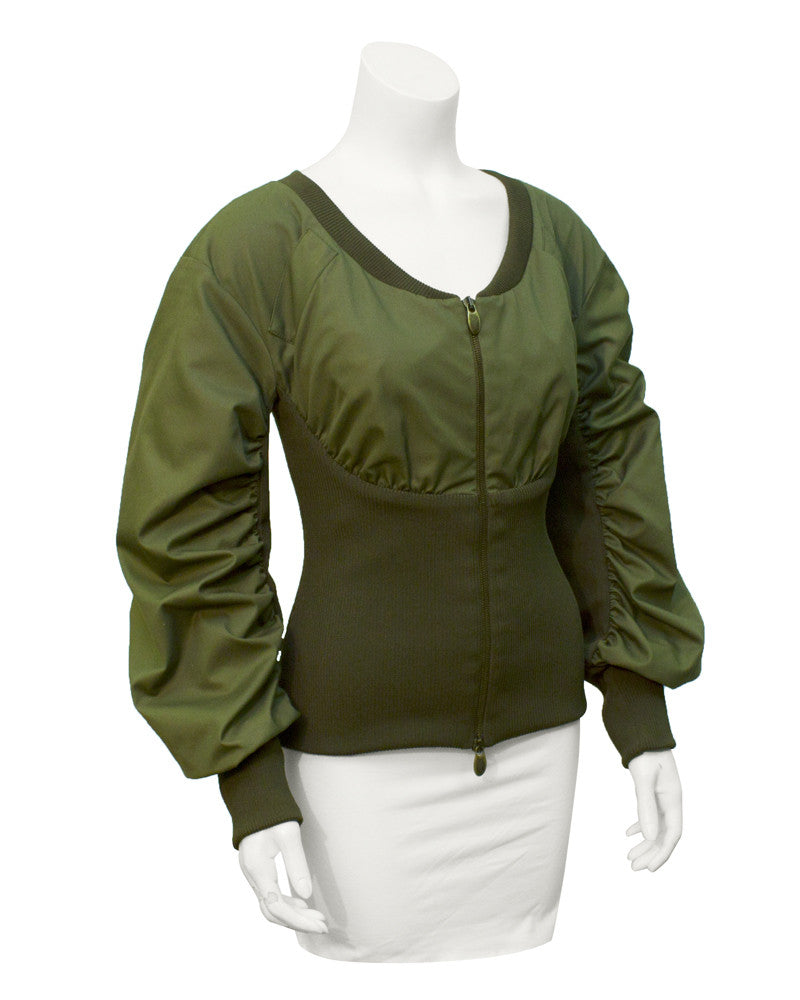Olive ruched jacket