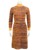 Orange and Navy Marled Knit Dress