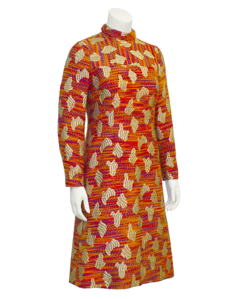 Orange and gold long-sleeve brocade dress