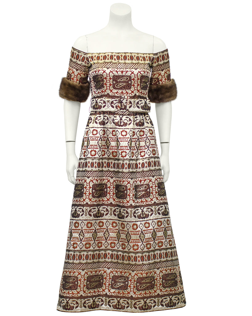 Brown Brocade Gown with Mink Trim