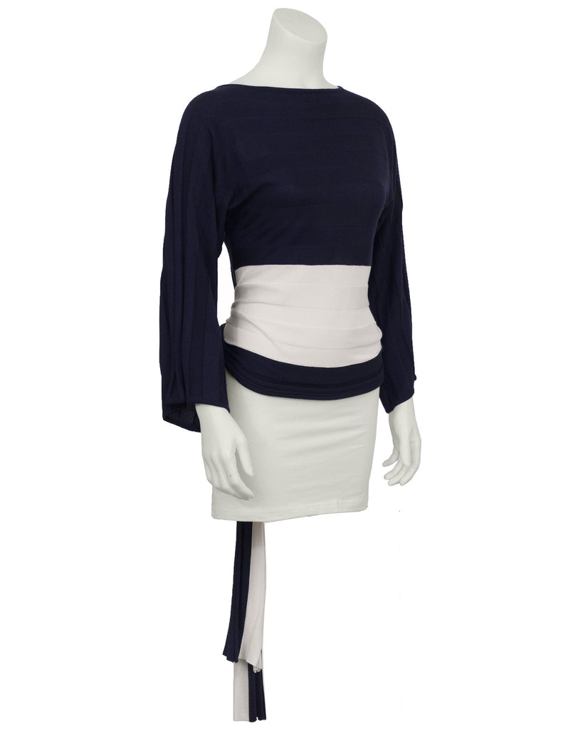 Navy and White Tie-Back Sweater