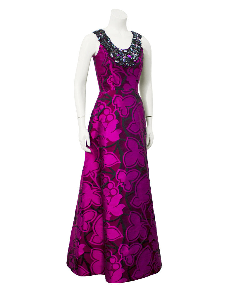 Purple tone embroidered gown with embellishment