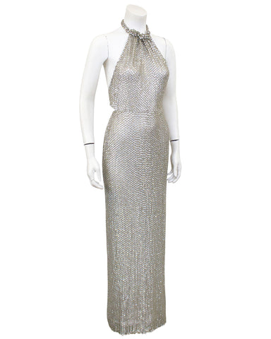 Silver Sequin Halter Gown