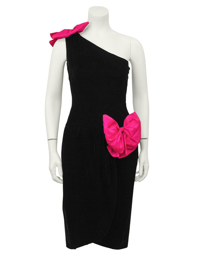 Miss O Velvet One Shoulder Cocktail Dress With Bows