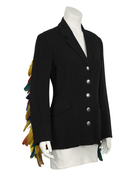 Black Blazer with Feathers